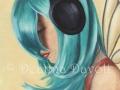 Faerie Funk #3 Headphone Fairy Blue Hair Fairy FANTASY ART Print Urban Fairy Hiphop Faerie Modern Fairy