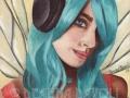 Faerie Funk Headphone Fairy Blue Hair Fairy FANTASY ART Print Urban Fairy Hiphop Faerie Modern Fairy