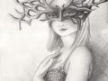 Watchful Eyes Masked Goddess Art Fantasy ART PRINT Mask Masquerade Pagan Art Wiccan Art