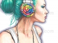 Candy Rocker Candy Art Print Fantasy Art Headphone Girl Candy Girl Urban