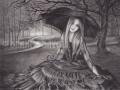 Waiting For The Dawn Vampire Art Fantasy Art Print Gothic Art Halloween Art Goth Illustration Vampyre Art