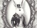 White Rabbit Art Print Alice in Wonderland Art Gothic Art Fairy Tale Art Victorian Art