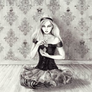 Alice In Wonderland Art Drink Me Gothic Art Victorian Art Pencil Drawing